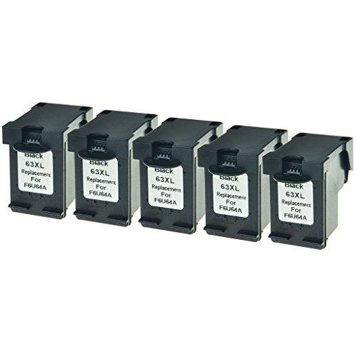 1110 Series Printer (GREENCYCLE Remanufactured 63XL F6U64A High Yield Ink Cartridge Compatible for InkJet DeskJet 1110 1112 2130 3636 ENVY 4512 4520 OfficeJet 3830 3831 4655 Series Printer ( Black,5 Pack))