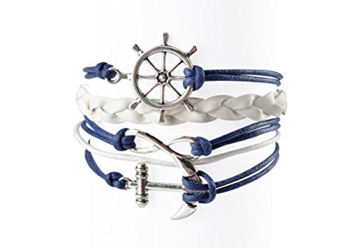 Style Leather Collection - Nautical Bracelets for Women Navy Rudder Anchor Braided Weave Leather Rope Leisure Bracelet Style Collection BLUETOP
