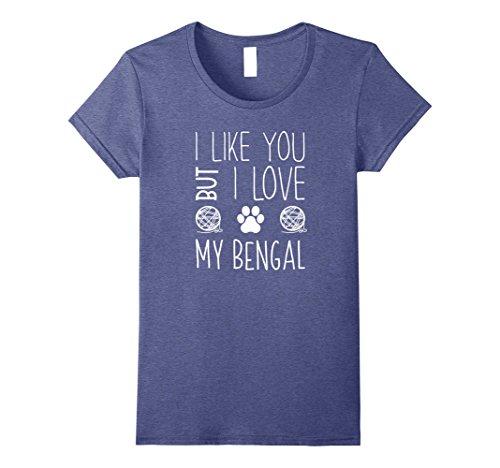 Womens I Like You But I Love My Bengal T-Shirt XL Heather Blue