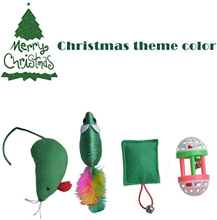 EXPAWLORER 12 PCS Christmas Cat Toys Green Package, Including Ball, Mouse, Bell 4