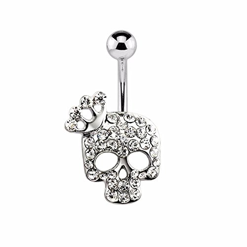 "Gem Paved Crowned Skull 316L Surgical Steel Freedom Fashion Navel Ring (Sold Individually) (14GA, 3/8"", Clear) (Ring Skull Navel)"