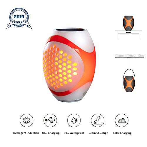 Solar Flame Light , Wall Lantern Outdoor Waterproof Charging Flickering Garden Torch Light , Auto sensing On/Off Powered Wall Mounted Night for Driveway Halloween Christmas Lights -