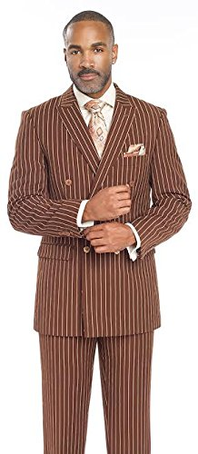Men's Suits Brown PinStriped Double Breasted 2 Piece Man Suit M2701 For Business Men (48 L) (10th Doctor Dress)