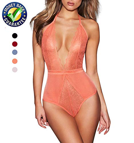 AnloveKiss Women Sexy Lingerie-Deep V Neck Backless Halter Teddy Bodysuit Perspective Lace Babydoll Underwear (L, Orange) (Halter Doll Baby Neck)