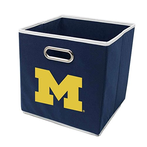 Franklin Sports NCAA Michigan Wolverines Fabric Storage Cubes - Made to Fit Storage Bin Organizers (11x10.5x10.5) - Michigan Wolverines Fabric