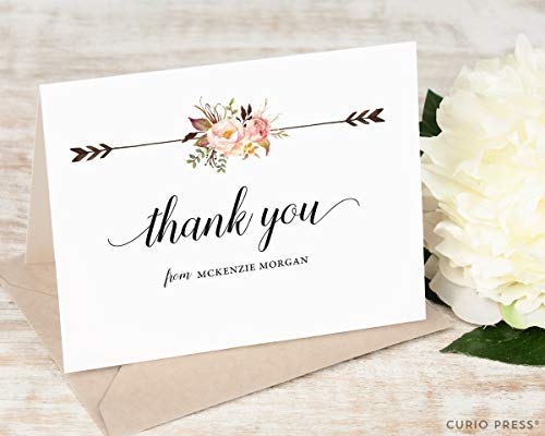 PAINTED FLORALS II THANK YOU - Personalized FOLDED Floral Stationery/Stationary Notecard Set