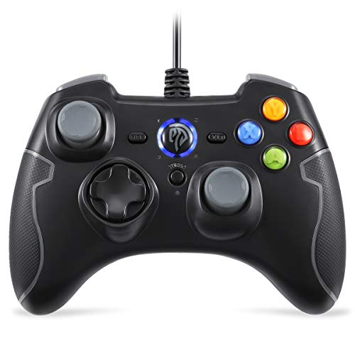 Wired Gaming Controller, EasySMX PC Game Controller Joystick with Dual-Vibration Turbo and Trigger Buttons for Windows/Android/ PS3/ TV Box (Gray) by EasySMX (Image #1)