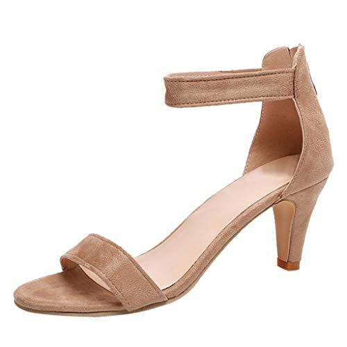 MILIMIEYIK Single Shoes Women, Shoes Women'S Ankle Strap Open Toe Comfortable High Heels Dress Wedding Party Heeled Sandals Khaki