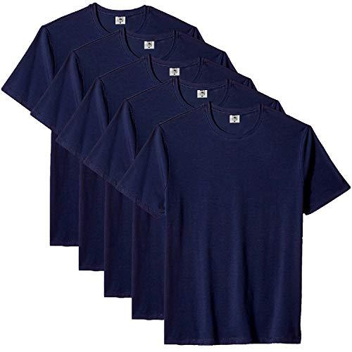 Kit com 5 Camiseta Masculina Básica Algodão Premium (Azul, GG)
