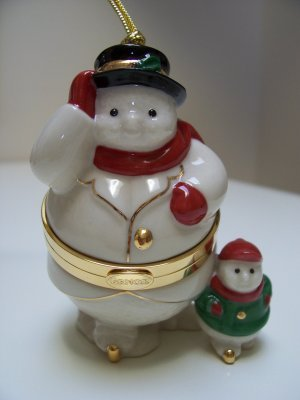 Lenox Snowman and Snowchild Hinged Trinket Box Ornament