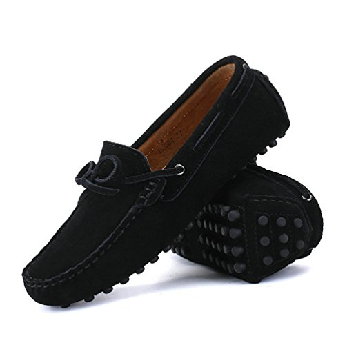Pisos Negro Cuero Casual MocasíN Mocasines De Hombres Gamuza Vaca ConduccióN Zapatos Zapatos Hombres Odn1qx