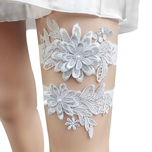 CapsA Lace Wedding Bridal Garter Belt Set Toss Away Prom Garters 2 Pieces Flower Leaf Style Garter Wedding Garter Bridal Garter Stretch Garter Belt for Bride Accessories Dress (Gray)