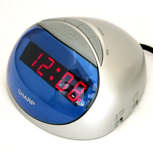 Sharp SPC002 Hi-Lo Alarm Clock with Battery Backup, snooze and Silver/ Blue computer mouse style case