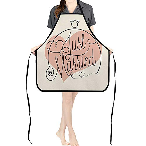 Jiahong Pan Adult Apron Waitresses Apron Stylized Hand Writing of Just Married on Pink Heart Tulip Flower Coral Black Cooking Kitchen Aprons for Women MenK26.6xG27.6xB10.2