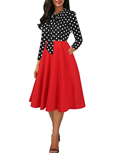 oxiuly Women's Vintage Bow Tie V-Neck Pockets Casual Work Party Cocktail Swing A-line Dresses OX278 (XL, Red PT7)