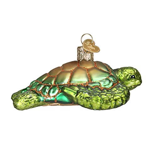 Old World Christmas Glass Blown Ornament with S-Hook and Gift Box, Ocean Collection (Green Sea Turtle) (Christmas Ornament Collection)