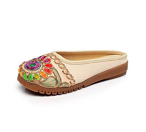 etnico Chnuo di comodo ricamate donna tendine unico sandali caduta Ballerine beige vibrazione femminile Scarpe stile scarpe modo HHrxqSP8