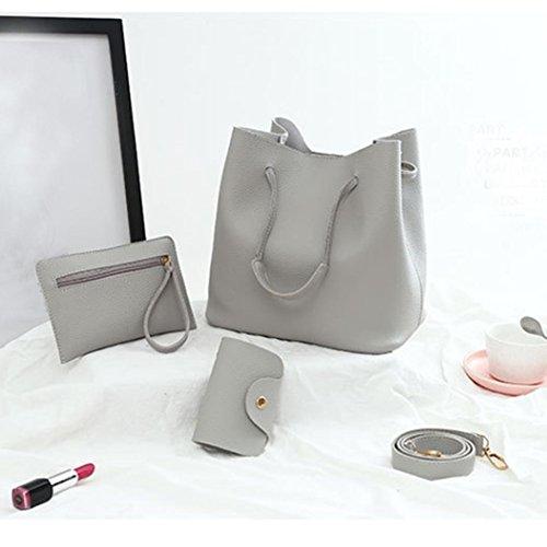 Card Bags Crossbody Gray Package Pcs Handbag Leather Shoulder Bag Messenger wuayi Bag 4 Women aPxUq44I