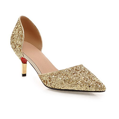 MMS04170 Cut Low Cone 4 Uppers Pointed UK Womens Sequin 1TO9 Shape Toe Sandals 5 Heel Gold wxRB4TH7q