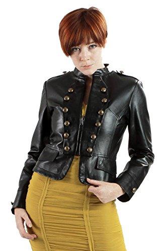 United Face Womens Lambskin Leather Military Jacket Medium Black
