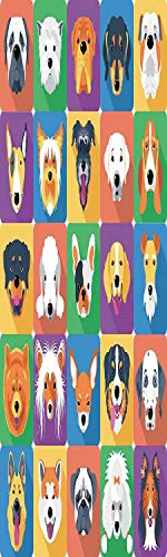 (Dog Lover Decor 3D Decorative Film Privacy Window Film No Glue,Frosted Film Decorative,Dog Breeds Profiles Pets Shepherd Terrier Labrador Domestic Animals Illustration,for Home&Office,17.7x59Inch Purp )