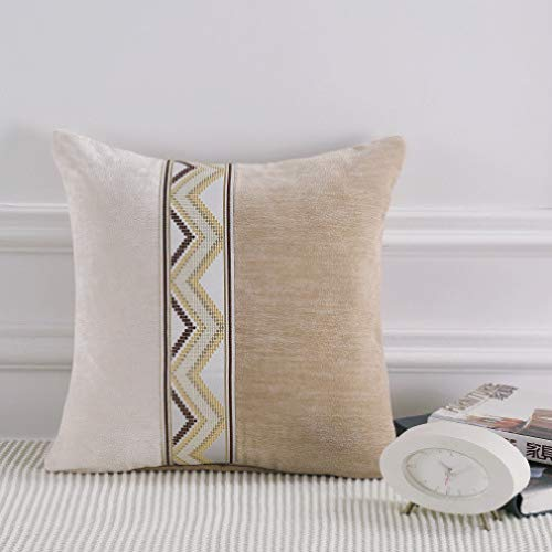 Mfasica Cushion Cover Cosy House Collection Square Color Stitch Decorative Stretchy Throw Pillow Covers AS4 45x45cm ()