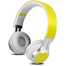 YHhao Over-Ear Headphones On-Ear Headsets Foldable Headphones Noise Cancelling with 3.5mm Detachable Cord and Mic for iPhone, iPad, Android Smartphones, PC, Computer, Laptop, Mac, Tablet, Yellow