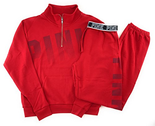 Victoria's Secret PINK Half Zip Sweatshirt and Campus Sweat Pants Set Small Red by Victoria's Secret