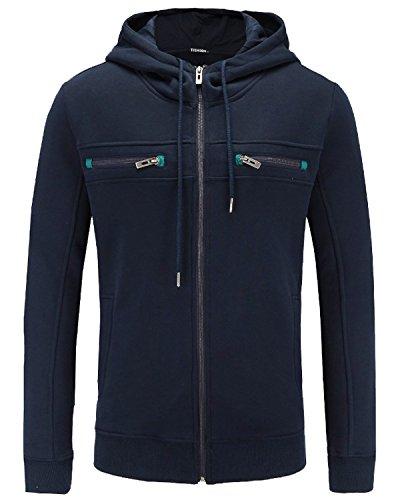 JOJOJOY Men's Full Zip Fleece Hoodie Lightweight Jacket Hooded Sweatshirt Cotton Coat Navy ()