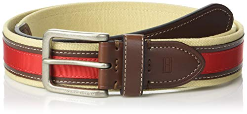 - Tommy Hilfiger Men's Ribbon Inlay Belt - Fabric Belt with Single Prong Buckle, red ribbon, 34
