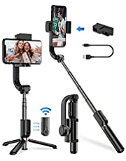 Apexel 1-Axis Gimbal Anti-Shaking Stabilizer for Smartphone with Extendable Wireless Selfie Stick and Tripod, Remote 360°Automatic Rotation, Auto Balance iPhone/Android (Most Cost-Effective)