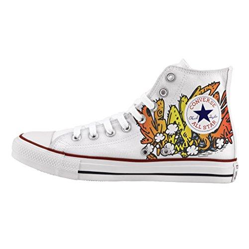 Scarpe Converse Personalizzate All Star Alta - sneakers stampa War graffiti