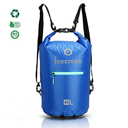 Waterproof Ultralight TPU Dry Bag - New Design Roll Top Dry Bag For Outdoor and Water Activities, Including Adjustable Shoulder Straps, Reflective Printing and Front Splash-proof Zippered Pocket (Design Top New)