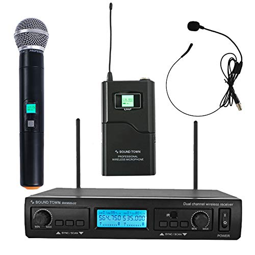 Sound Town 200-Channel Professional UHF Wireless Microphone System with 1 Handheld Mic/Headset/Bodypack, for Church, Business Meeting, Outdoor Wedding and Karaoke ()