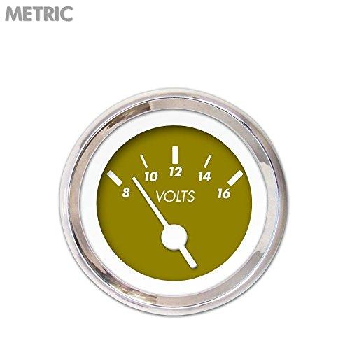 Aurora Instruments 6737 Marker Green Metric Volt Gauge White Vintage Needles, Chrome Trim Rings, Style Kit DIY Install