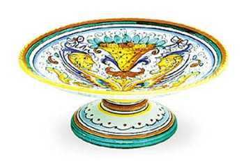 Hand Painted Footed Bowl - Arte D'Italia Imports Hand Painted Raffaellesco Footed Fruit Bowl - Handmade in Deruta
