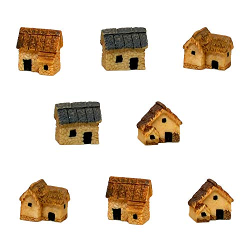 Pixie Glare Fairy Garden Micro House Village Stone Miniature Houses. Four Styles. Two Houses of Each Style - 8 Pack.