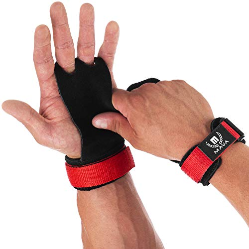 Mava Sports Leather Hand Grips with Wrist Support - Pull Ups Gloves Great for Cross Training, WOD, Deadlifts, Workout, Kettlebell, Muscle Ups, Weightlifting & Calisthenics - NO Calluses - Men & Women ()