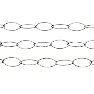 Sterling Silver 6x12mm Marquis Oval Cable Chain Italy Unfinished Bulk 5 Feet