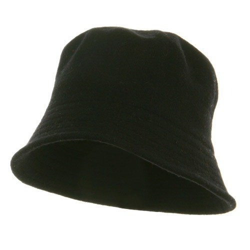 Wool Bucket Hat with Stitches-Black W15S41B (Hat Bucket Wool)