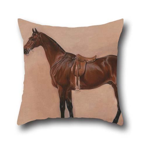 The Oil Painting John Ferneley - Study Of A Saddled Bay Hunter Throw Pillow Covers Of ,16 X 16 Inches / 40 By 40 Cm Decoration,gift For Family,wedding,bar,family,home Theater,father (double Sides)