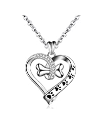 "EUDORA 925 Sterling Silver Necklace Cute Dog Paws with Bone, Heart Shape Pendant 18"", Gift for Dog Owner"