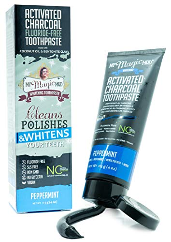 My Magic Mud - Activated Charcoal Toothpaste, Natural, Whitening, Detoxifying, Peppermint, 4 oz.