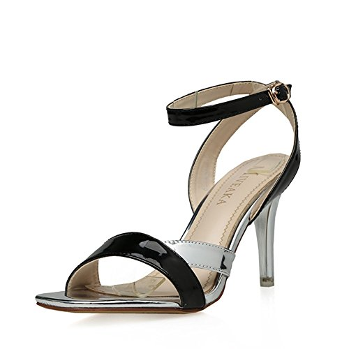 High Heeled Open Toed (2016Summer Sandals/High-heeled shoes/Open-toed fine with sexy shoes buckle with the word-B Foot length=23.3CM(9.2Inch))
