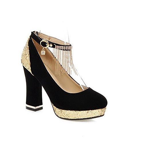 Balamasa Filles Paillettes Glands Cloutés Strass Boucles Métalliques Givrées Pompes-chaussures Noir