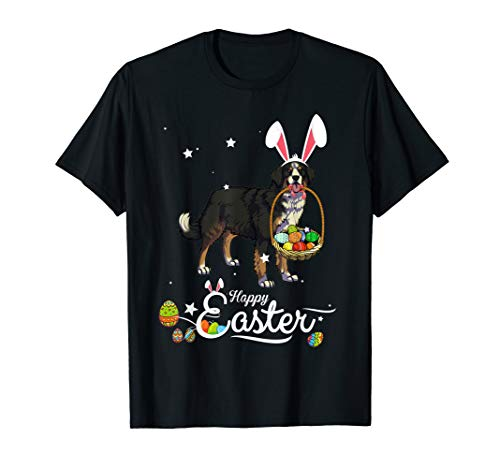 Bernese Mountain Dog With Bunny Hat Easter Costume T Shirt