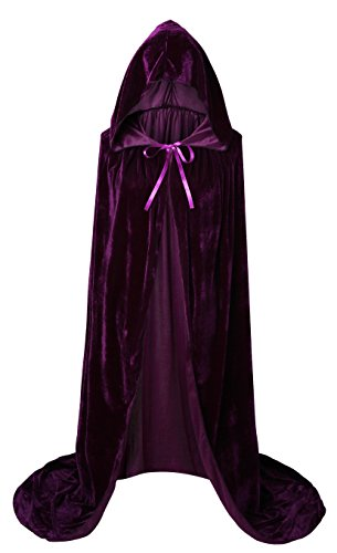 VGLOOK Unisex Extra Long Hooded Velvet Halloween Costumes Cloak Cape 63