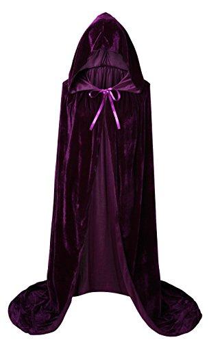 "VGLOOK Unisex Extra Long Hooded Velvet Halloween Costumes Cloak Cape 63"" Purple"