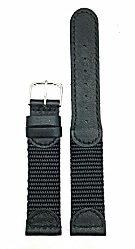 19mm Black Genuine Leather and Nylon Watch Band | Swiss Army Style, Soft Replacement Wrist Strap That Brings New Life to Any Watch (Mens Length)
