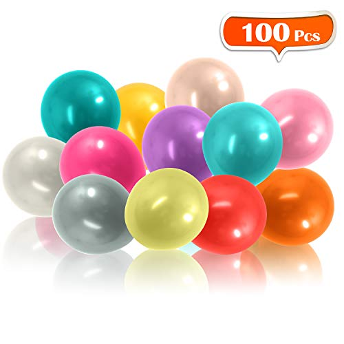 12 Party Balloons, AGPtEK 100 Packs Assorted Colored Balloons with Premium Quality Latex for Air, Water and Helium, Ideal for Party Decorations